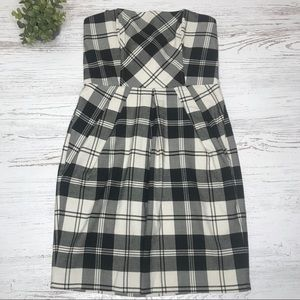 Black and ivory strapless plaid checkered Dress